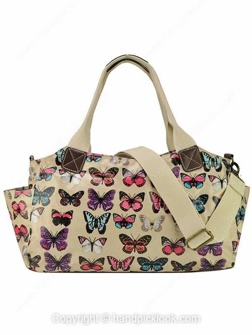 Beige Leatherette Butterfly Print Messenger Bag - HandpickLook.com