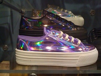 shoes holographic sneakers silver purple rainbow reflective pastel goth grunge shoes kawaii