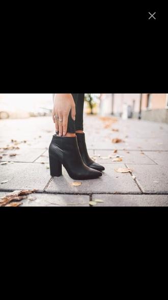 shoes black booties heel boots leather heels ankle boots black boots winter boots