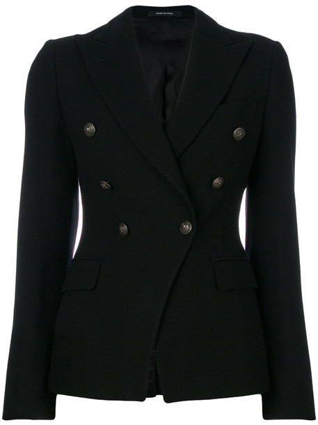 TAGLIATORE blazer double breasted women spandex black wool jacket