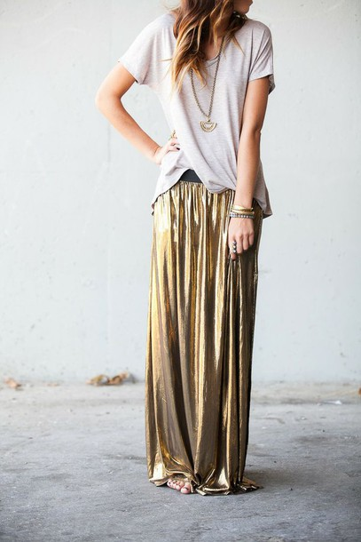 Skirt: metallics, maxi skirt, gold, winter outfits, christmas ...