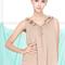 Romwe | petal neck light-khaki sleeveless blouse, the latest street fashion