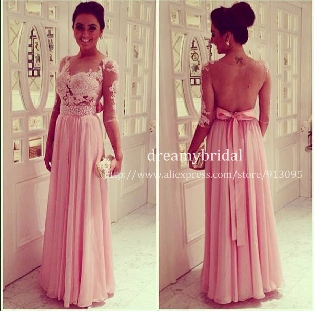 Aliexpress.com : Buy 2014 Hot selling Vestido De Festa Sexy Sheer lace Nude tulle backless Scoop Neck Half Sleeve Pink Chiffon A Line Evening Dress from Reliable dress bright suppliers on Suzhou dreamybridal Co.,LTD