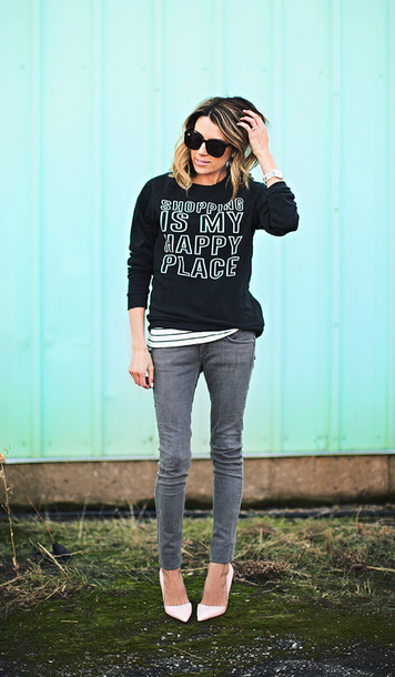 hello fashion blogger grey jeans funny sweater quote on it jeans sports sweater graphic sweatshirt crewneck sweatshirt pointed toe pumps pumps white pumps black sunglasses sunglasses
