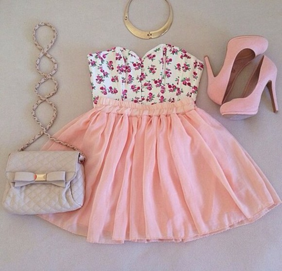 corset dress bralette floral corset chiffon skirt tank top shoes bag jewels