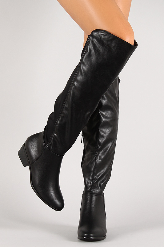 Mixed media almond toe knee high boot