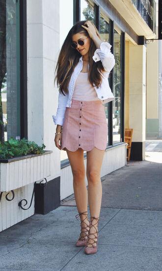 skirt white denim jacket pink suede skirt pink skirt mini skirt button up skirt suede skirt top white top jacket white jacket lace up sandals nude sandals sandals sunglasses