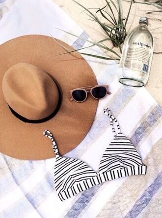 hat bikini bikini top tan hat camel hat nude hat stripes swimwear white bikin black bikini striped bikini balck and white