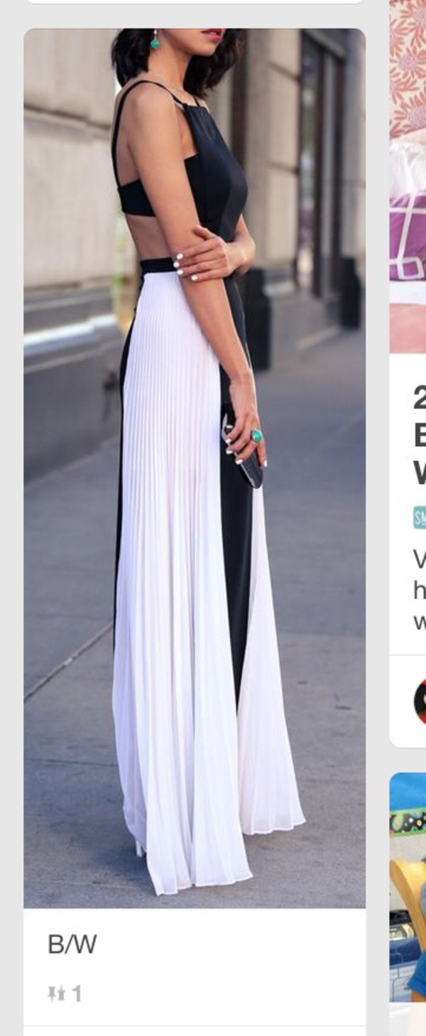 Bcbg black and white maxi dress