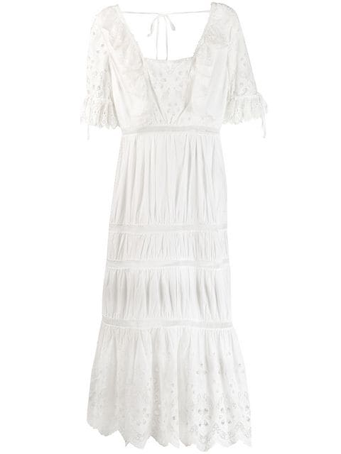 Self-Portrait Embroidered Lace Details Dress - Farfetch
