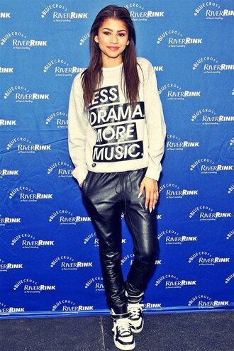sweater pants shoes swag black zendaya