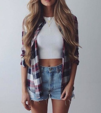 blouse shirt white crop tops crop cute dope sweater top flannel white crop tops cardigan checkered grid summer ripped blonde hair blue red outfit streetstyle distressed denim shorts stripes striped shirt navy denim shorts plaid shirt shorts button down shirt