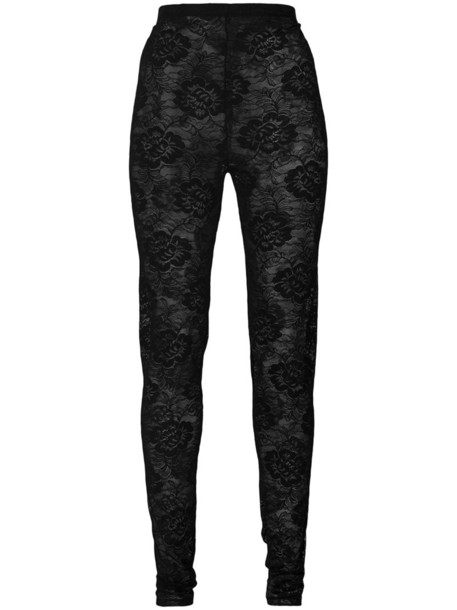 gucci leggings women spandex lace floral black pants