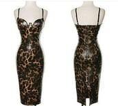 dress,leopard print,bustier dress,kim kardashian dress,print,leather,bodycon dress