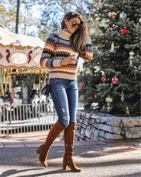 sweater tumblr knit knitwear knitted sweater denim jeans blue jeans boots brown boots knee high boots sunglasses