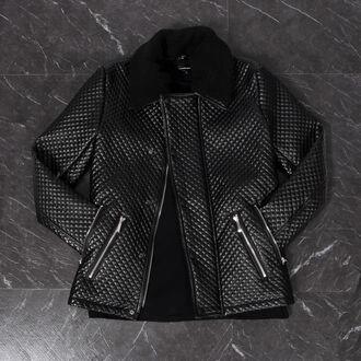 coat quilted borg borg jacket black leather jacket menswear fashion style maniere de voir manieredevoir blogger zips celebrity style