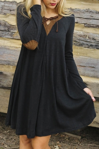 dress fashion style warm black long sleeve elbow patchwork flare dress long sleeves trendy cool