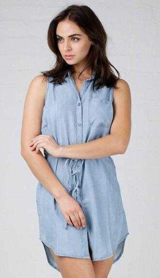 dress angl fashion casual denim denim dress button down dress light blue cute