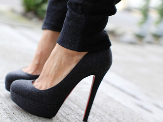 shoes heels pumps grey red high