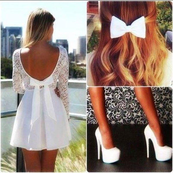 dress white dress shoes bow dress girly sweet cute dress white bow white heels white lace detail backless bow elegant fancy prom summer spring garden party teenagers cute cool tumblr sleeves long short cut above knee length tan skirt skater all white everything