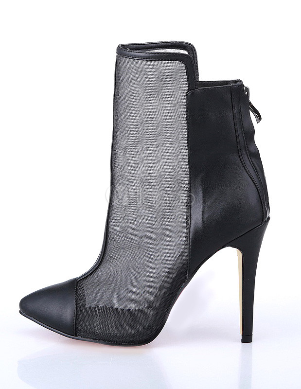 Fashion Black Cap Toe Mesh High Heel Booties For Woman - Milanoo.com
