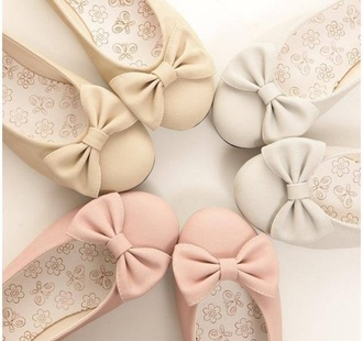 shoes flats with bows bows pink flats girly ballet flats