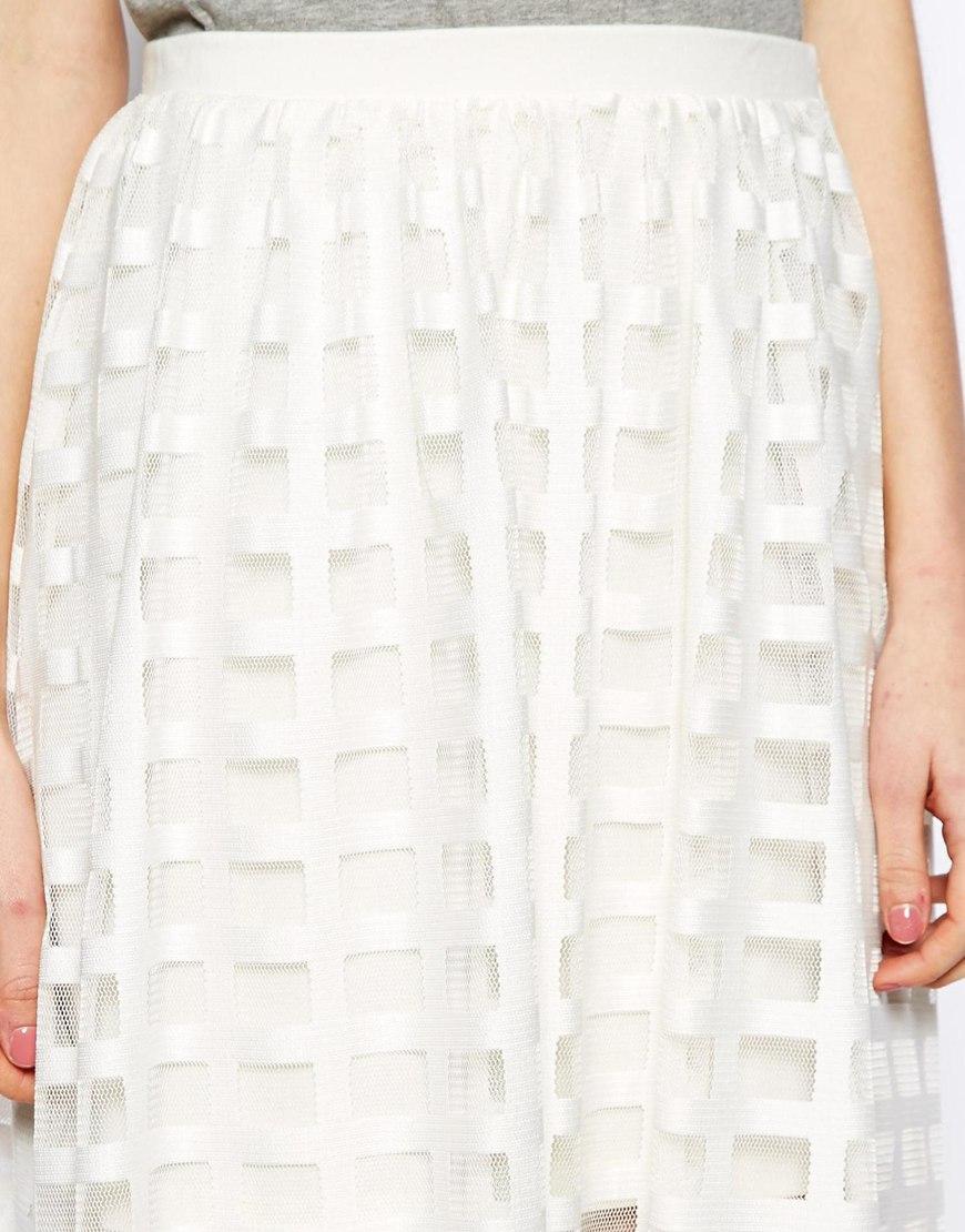 ASOS Midi Skirt In Sheer Check at asos.com