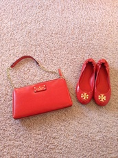 bag,red bag,ballet flats,kate spade