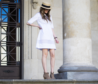 rebel attitude blogger dress hat summer dress white dress mini dress shoes ankle boots boots summer sun hat
