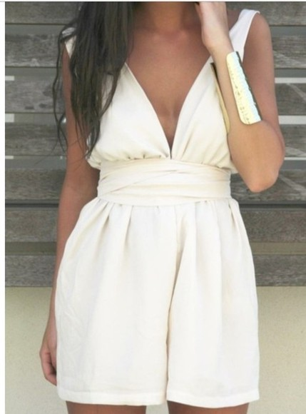 dress white romper jumpsuit white jumpsuit