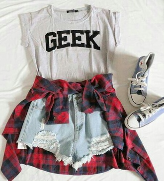 shirt grunge grunge shirt flannel grunge flannel shorts high waisted shorts converse geek tumblr tumbl t-shirt grunge t shirt tumblr girl high waisted