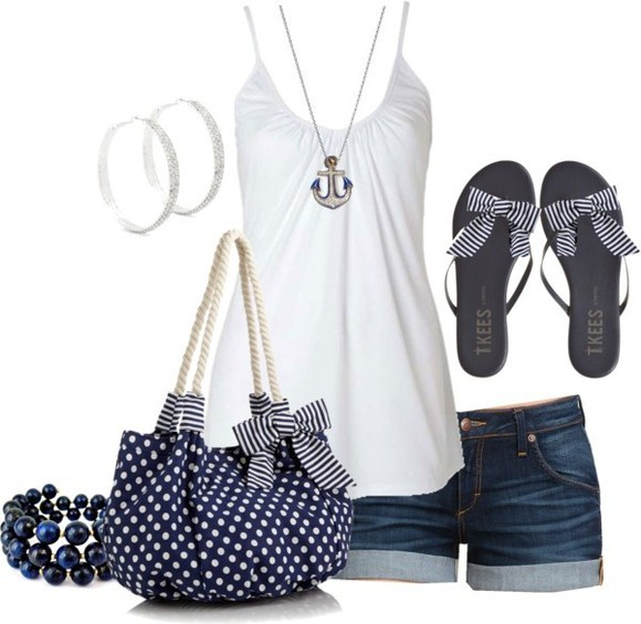 bag blue bag shoes polka dots blue striped bow blue shoes
