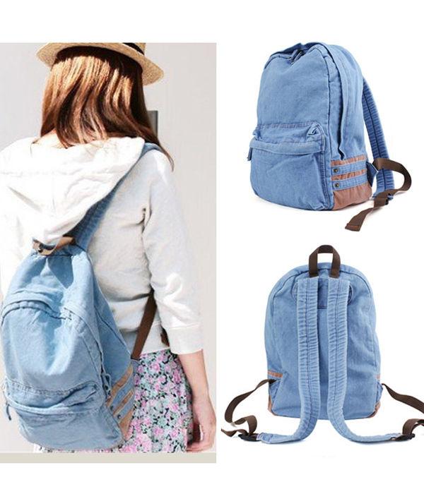 New Vintage Unisex Denim Satchel Backpack School Casual Travel Shoulder Bag