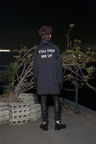 jacket coat black witty saying black and white