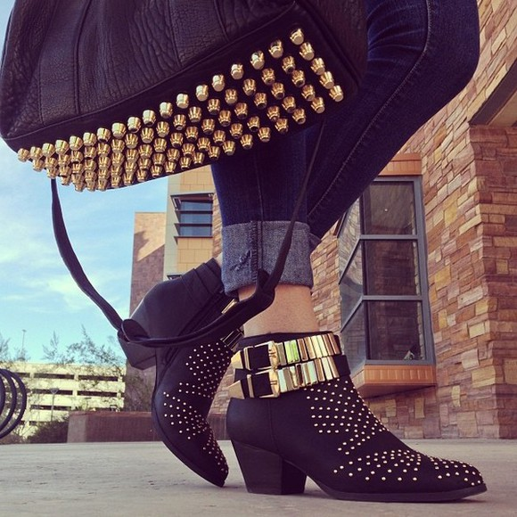 fashion shoes boots spikes style vintage boots spiked shoes boots with spikes and cheetah print bag fashion bags
