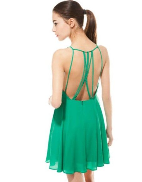 green dress green strappy back dress summer dress strappy dress short dress short dresses bershka strappy back beautiful back style size smal