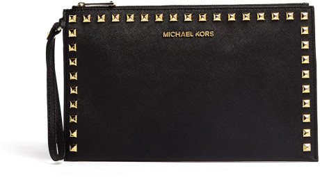 f40c6761bd44 Michael By Michael Kors Black Selma Stud Large Zip Clutch in Black | Lyst