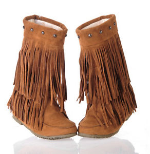 Womens Rivet Fringe Slouchy Hidden Wedge Moccasin Ankle Boots Plus ...