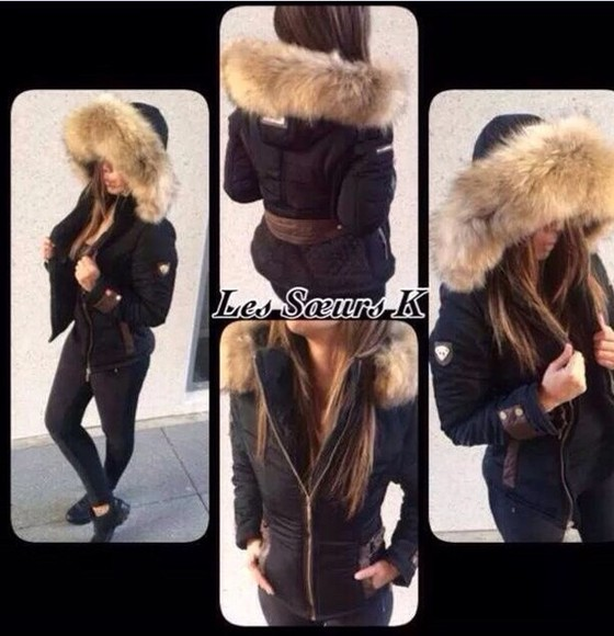 fourrure fashion noir doudoune capuche