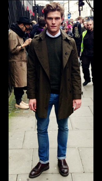 menswear trench coat mens jacket jeans oliver cheshire mens jeans