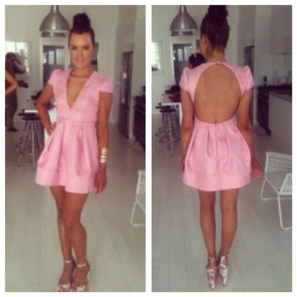 cap sleeves short dress backless plunging vneckline thickmaterial thick material pink dress race day fashion big skirt plunging neck line