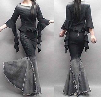 skirt gypsy steampunk maxi skirt flare skirt punk rock gothic dress tribal pattern