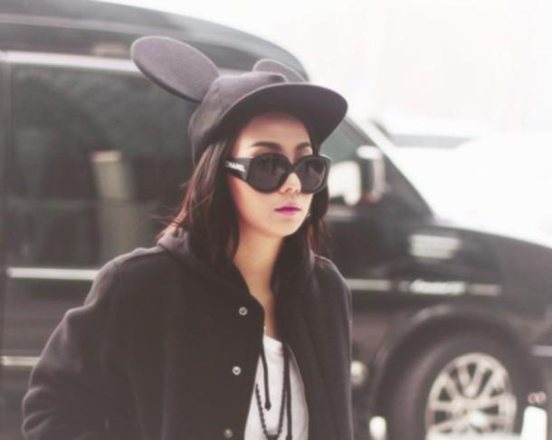 hat black snapback fashion cute cl 2ne1 style mimi mouse ears minnie mouse  ears a6a12697c09