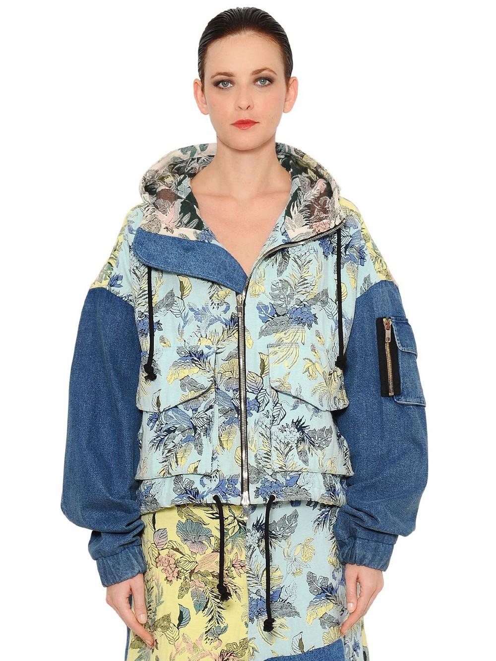 MARNA RO Brocade & Denim Patchwork Bomber Jacket in blue / multi