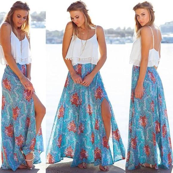 summer outfits blue white white top maxi skirt blue skirt split skirt