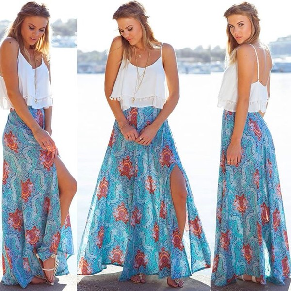 Boheme maxi skirt in blue print | SHOWPO Fashion Online Shopping