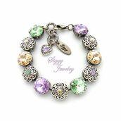 jewels,siggy jewelry,bracelets,crystal,sparkle,beauty shopping,gift ideas,hand made,spring,pastel,flowers,heart charm,swarovski,purple,green,fashion,trendy,etsy,flower bracelet