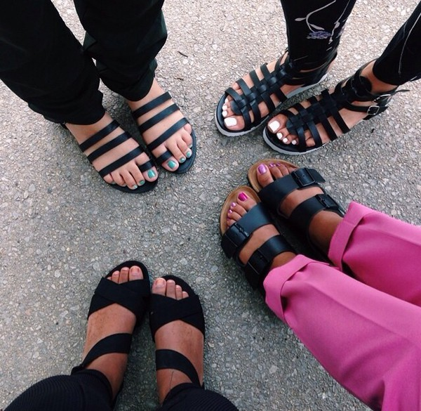 shoes black sandals black