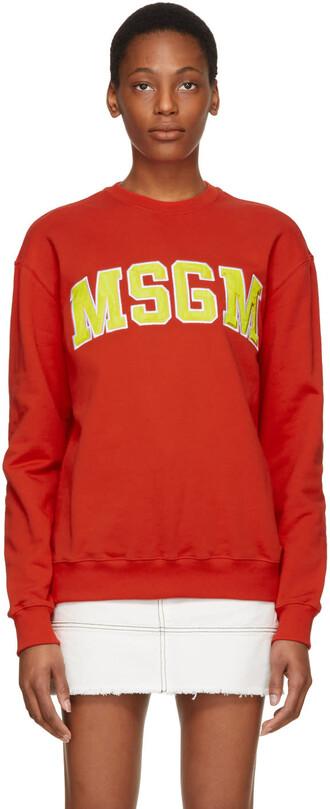 sweatshirt college red sweater
