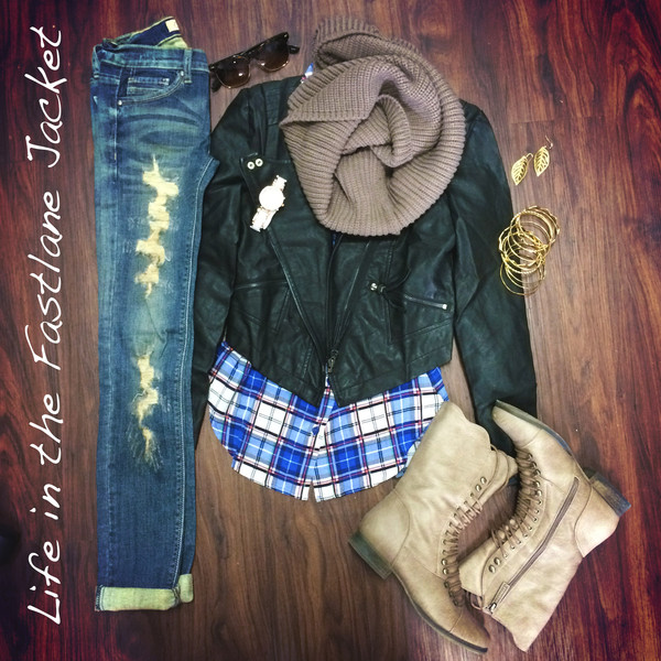 jacket leather jacket jeans top shoes scarf jewels